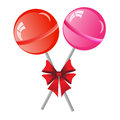 Lollipops background two with bow isolated on the white phone Royalty Free Stock Image