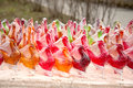 Lollipops many colorful sold in the park Royalty Free Stock Images