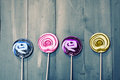 Lollipops photo of on wooden Royalty Free Stock Photo