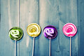 Lollipops photo of on wooden Stock Image