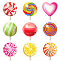 Lollipops set bright icons over white background Stock Images