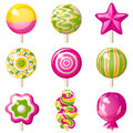 Lollipops set bright icons over white background Stock Photography