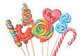 Lollipops set of colorful isolated on white background Royalty Free Stock Images