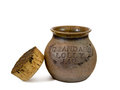 Lolly jar grandad s pottery with cork lid Royalty Free Stock Photography