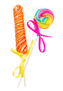 Lolly pop and candy stick spiral isolated on white background Stock Photo