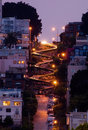 Lombard street at night Royalty Free Stock Photo