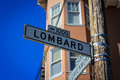 Lombard Street Sign in San Francisco Royalty Free Stock Photo