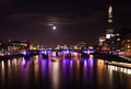 London  2012, floodlit bridges, Royalty Free Stock Image