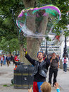 London august bubblemaker on the southbank of thames in l uk unidentified people Stock Images