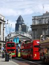 London: Bank of England and tour buses Stock Image