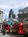 London: Bank of England and tour buses Stock Image