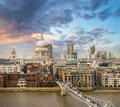 London beautiful aerial view of millennium bridge and st paul c cathedral at sunset Royalty Free Stock Photography