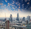 London beautiful city skyline at dusk aerial view Stock Photos