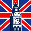 London Big Ben British Union Jack flag Royalty Free Stock Photo
