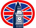London Big Ben British Union Jack flag Stock Images