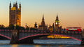 London, Big Ben and Houses of Parliament at dusk Royalty Free Stock Photo