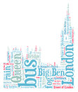 London big ben silhouette word cloud Royalty Free Stock Photo