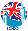 London big ben with union jack flag background vector of Royalty Free Stock Image