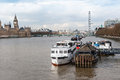 London boats on thames river various thanes in near vauxhall bridge Stock Image