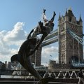 London Bridge tower towerbridge women sculpture delphine delphinium Royalty Free Stock Photo
