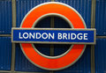 London bridge underground sign closeup of subway england Stock Images