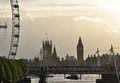 London britain river thames and houses of parliament the big ben by charing cross bridge great Royalty Free Stock Images