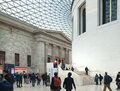 London. British museum interior of main hall with library building in inner yard Royalty Free Stock Photo