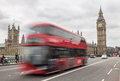 London bus passing Big Ben Royalty Free Stock Photo
