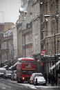 London bus in the snow Stock Photography