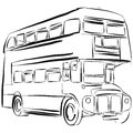 London Bus Vector Drawing Royalty Free Stock Photo