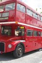 London buss i belluno under de beatles dagarna Royaltyfria Bilder