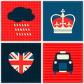 London cards collection a set of greeting with symbols Royalty Free Stock Photography