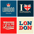 London cards collection a set of typographic design greeting Royalty Free Stock Photography