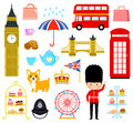 London cartoons set Royalty Free Stock Photo