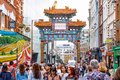 London Chinatown features Chinese restaurants, bakeries and souvenir shops Royalty Free Stock Photo