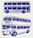 London city bus. Doodle style Royalty Free Stock Photo