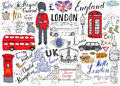 London city doodles elements collection. Hand drawn set with, tower bridge, crown, big ben, royal guard, red bus and cab, UK map a