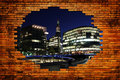 London city in hole with wall brick new old Royalty Free Stock Photography