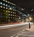 London city road night scene, night car rainbow light trails Royalty Free Stock Photo