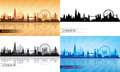 London city skyline silhouette set vector illustration Royalty Free Stock Photos