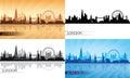 London city skyline silhouette set vector illustration Royalty Free Stock Photos