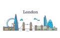 London city view, urban skyline with buildings, europe landmarks modern flat vector illustration Royalty Free Stock Photo