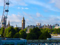 London cityscape of the famous landmarks eye and big ben in the city of uk Royalty Free Stock Photos