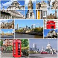 London collage photo from uk includes major landmarks like big ben saint paul s cathedral and red telephone booths Royalty Free Stock Images