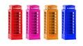 London colorful telephone boxes souvenir on white background four Royalty Free Stock Photos
