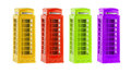London colorful telephone boxes souvenir on white background four Stock Photos