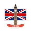 London concept. Big ben flat design with england flag