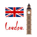 London concept. Big ben tower with flag and lettering