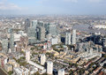 London docklands skyline view from above a of a helicopter Royalty Free Stock Images
