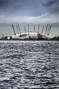 London docklands view of the millennium dome across the thames Royalty Free Stock Images